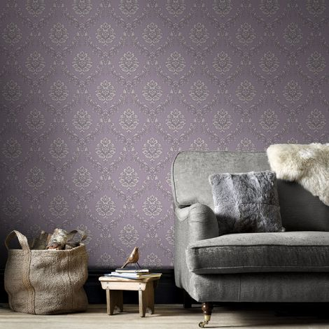 Boutique High Quality Jacquard Damask Print Purple/Cream Wallpaper (Was £24)