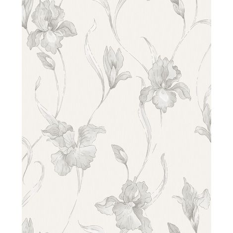 Boutique Iris Embossed Floral White/Grey Wallpaper (Was £24)