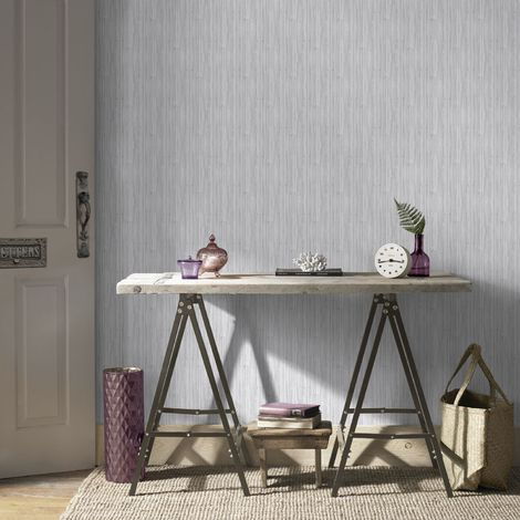Boutique Light Grey Jute Textured Metallic Wallpaper