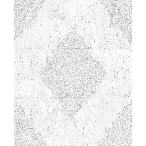 Boutique Light Grey / Silver Cork Medallion Heavyweight Vinyl Wallpaper (Was £24)