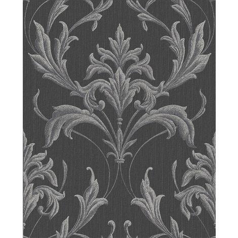 Boutique Oxford Damask Print Black / Grey Heavyweight Vinyl Wallpaper