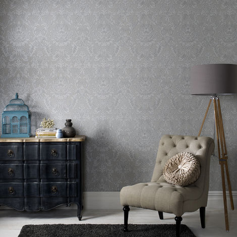 Boutique Province Textured Damask Glitter Grey Wallpaper (Was £23)