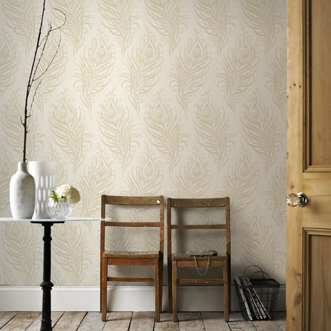 Boutique Quill Feather Copper/Brown Metallic Wallpaper (Was £25)
