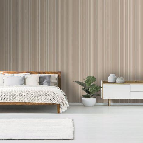 Boutique Rose Gold Metallic Striped Wallpaper
