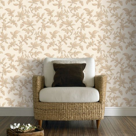Boutique Sarra Trail Leaf Print Glitter Gold Wallpaper (Was £23)