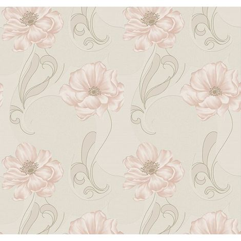 Boutique Sofia Embossed Metallic Floral Peach Wallpaper (Was £24)