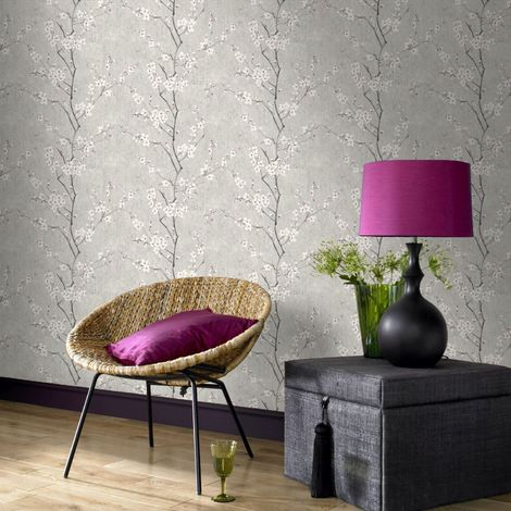 Boutique Soft Grey Sakura Cherry Blossom Metallic Wallpaper