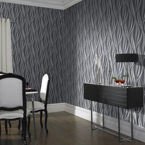Boutique Tango Charcoal/Silver Wallpaper