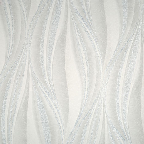 Boutique Tango Embossed Geometric White/Silver Wallpaper