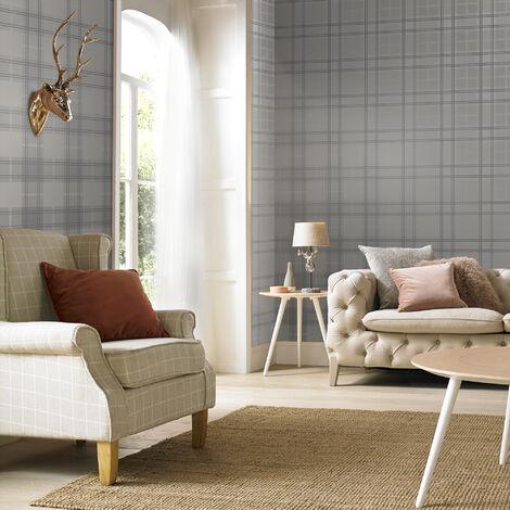 Boutique Tartan Silver Wallpaper
