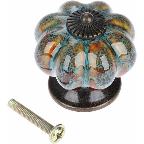 Bouton de porte en céramique antique citrouille pour armoires, armoires, commode, tiroirs, meubles de cuisine, poignées de tirages (10 pièces, bleu)