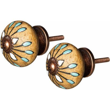 Bouton de porte fleur doré vintage en céramique (Lot de 2) - Doré