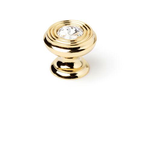 Bouton de style classique en laiton, finition strass transparent doré et diamètre de 30 mm.