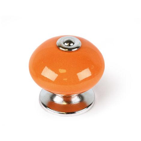 Bouton en porcelaine orange, dimensions: 40x40x38mm Ø: 40mm - talla