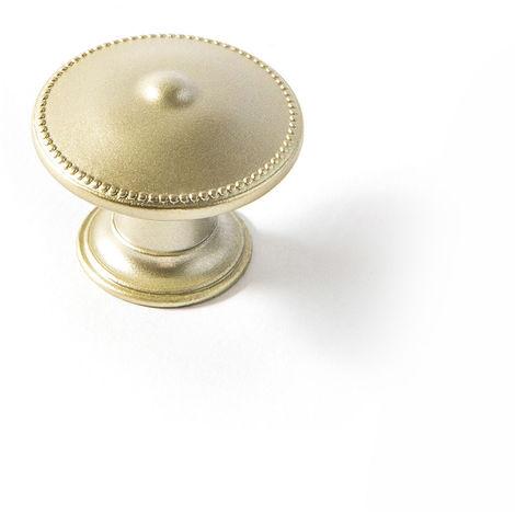 Bouton en zamak finition dorée mat, dimensions: 30x30x24mm