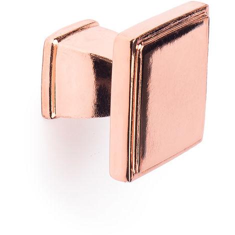 Bouton en zamak finition dorée rosso mat, dimensions: 30x30x25mm