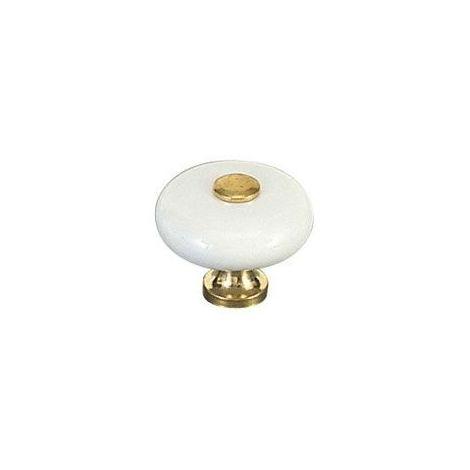 Bouton porcelaine avec embase et sommet zamac - MERIGOUS