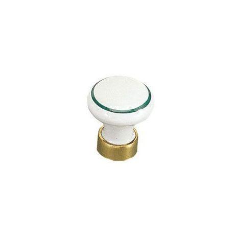 Bouton porcelaine cerclé sur embase laiton - Décor : Blanc / Vert - MERIGOUS - Décor : Blanc / Vert