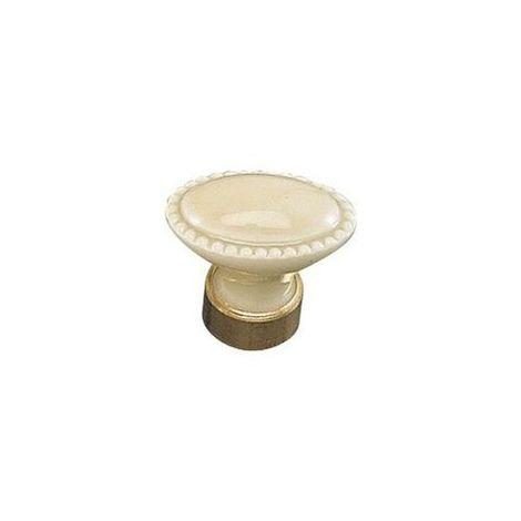 Bouton porcelaine - Diamètre : 34 mm - Hauteur : 36 mm - Décor : Perle ivoire - Matériau : Porcelaine - MERIGOUS