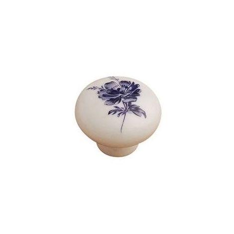 Bouton porcelaine - Diamètre : 38 mm - Hauteur : 28 mm - Décor : Fleur bleue - Matériau : Porcelaine - FOSUN