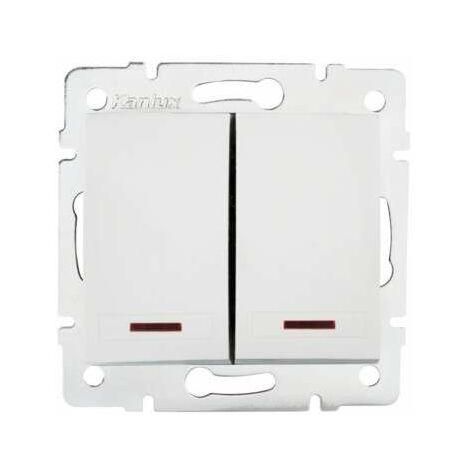 Bouton Poussoir Encastrable Double avec Témoin LED DOMO Blanc