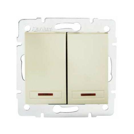 Bouton Poussoir Encastrable Double avec Témoin LED DOMO Blanc Perlé