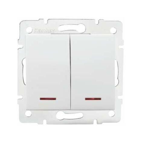 Bouton Poussoir Encastrable Double avec Témoin LED LOGI Blanc