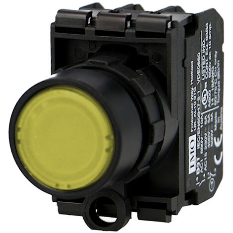 Bouton poussoir lumineux jaune complet IMO Ø22mm, 1NO+1NC, LED 24V