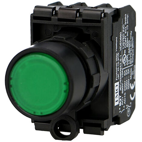 Bouton poussoir lumineux vert complet IMO Ø22mm, 1NO+1NC, LED 24V