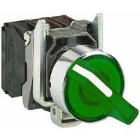 Bouton tournant lumineux vert à manette 1O+1F schneider