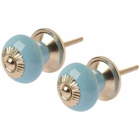 Boutons de porte céramique et laiton (Lot de 2) Bleu - Bleu