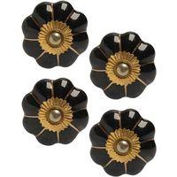 Boutons de porte classique pour meubles fleur (Lot de 4) Noir