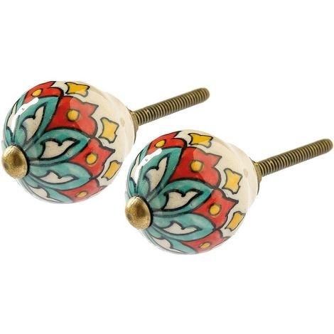 """main image of """"Boutons de porte coniques colorés pour meubles (Lot de 2) Fleur - Multicolore"""""""
