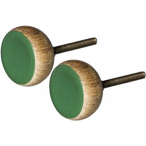 """main image of """"Boutons de porte en bois et métal (Lot de 2) vert - Vert"""""""