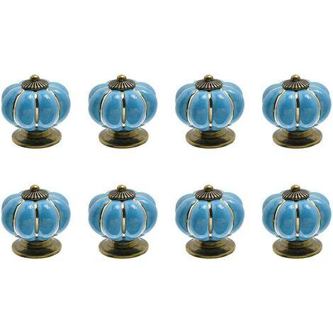 Boutons de tiroirs/de portes en forme de citrouille, lot de 8, bleu