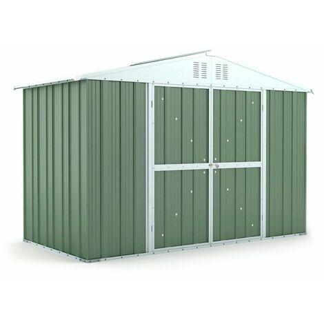 Box attrezzi casetta lamiera giardino in Acciaio Zincato 327x155cm x h2.17m - 114KG – 5.06mq – VERDE