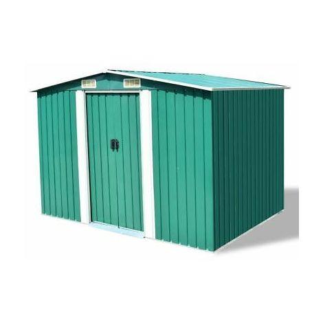 Box capanno per attrezzi in metallo verde 257x205x178 cm box giardino