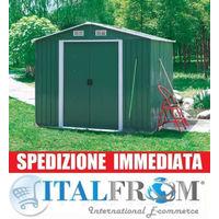 BOX CASETTA CASETTE RIMESSA RIPOSTIGLIO GARAGE AUTO PER GIARDINO LAMIERA ZINCATA 131x206x175h
