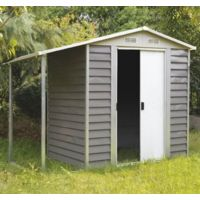 Box casetta Cottage in lamiera grigio con tettoia   grigio