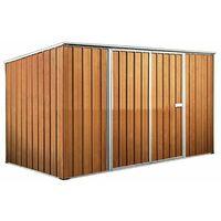 Box casetta giardino attrezzi in Acciaio Zincato 345x186cm x h1.92m - 98KG – 6mq - LEGNO
