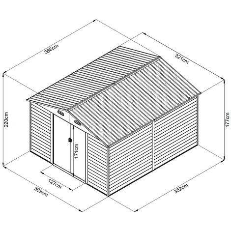Box Casetta Rimessa Ripostiglio per Giardino Lamiera Zincata Effetto Legno 366x321x220h