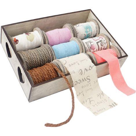 Box de décoration, bandes de décoration, boîte à ficelles, 9 galets