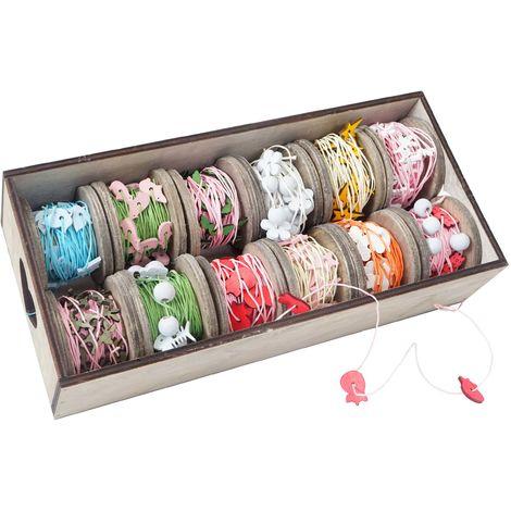 Box de décoration, bandes de décoration, boîte à ficelles, motif bois, 12 galets à 7,5 cm