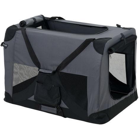 Cage de Transport pour Chien Box de Transport pour Chien Chenil Polyester Pliant Gris Taille S