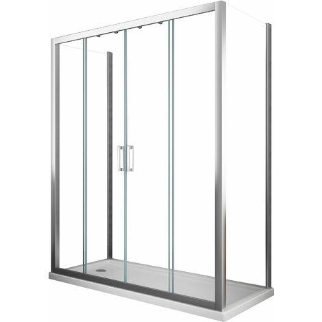 Box doccia 6 mm 2 pareti fisse e porta a 4 ante con apertura centrale