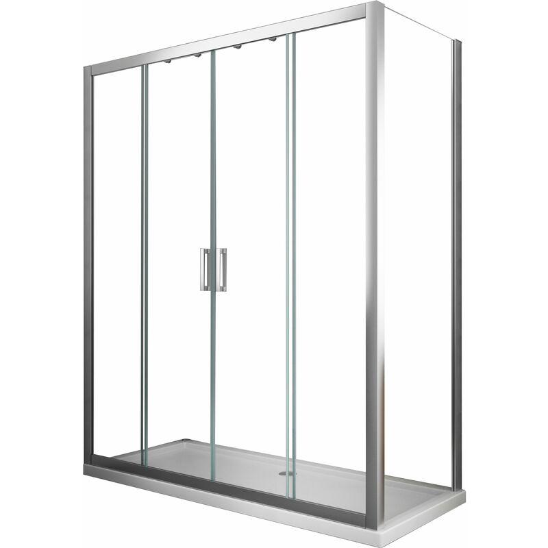Box Doccia 4 Ante.Box Doccia 6 Mm Parete Fissa E Porta A 4 Ante Con Apertura Centrale
