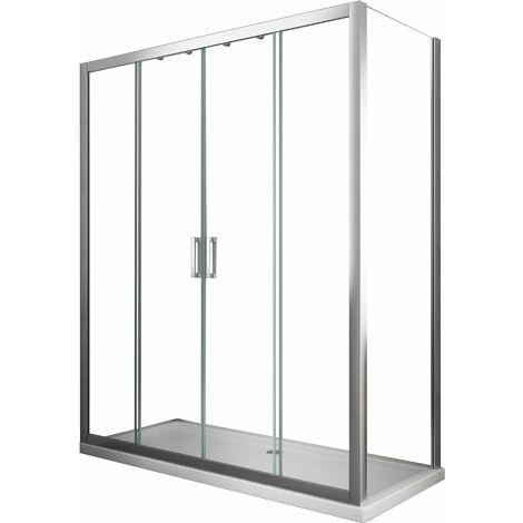 Box doccia 6 mm parete fissa e porta a - 4 ante con apertura centrale