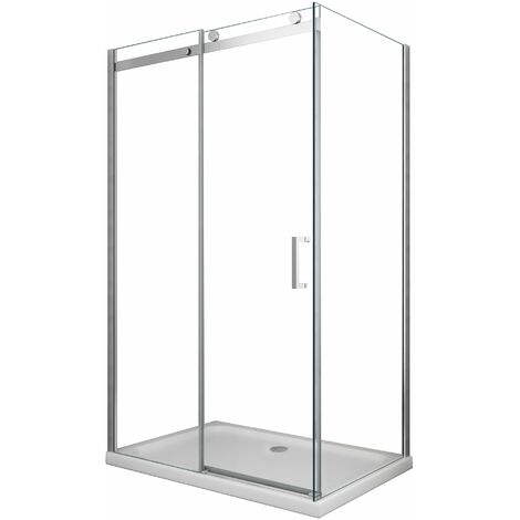 Box doccia 8 MM a 2 lati parete fissa laterale + porta scorrevole reversibile