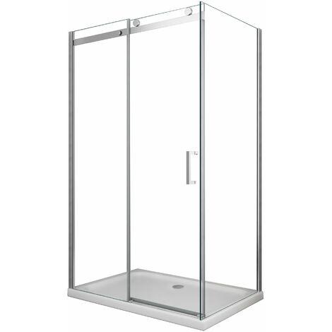 Box doccia 8 MM a 2 lati parete fissa laterale + porta scorrevole reversibile altezza 190 cm 70x100