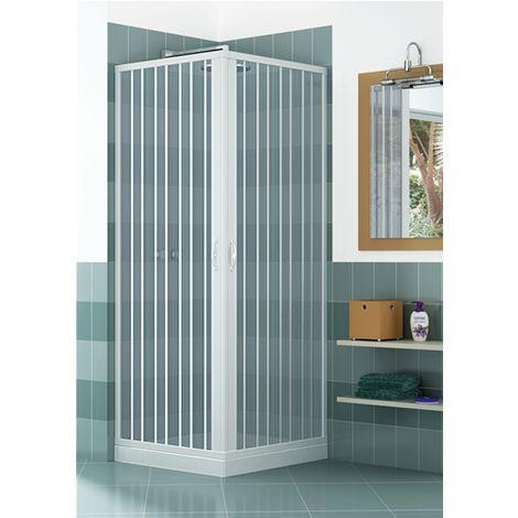Box doccia a due lati in PVC, due ante, con apertura angolare.